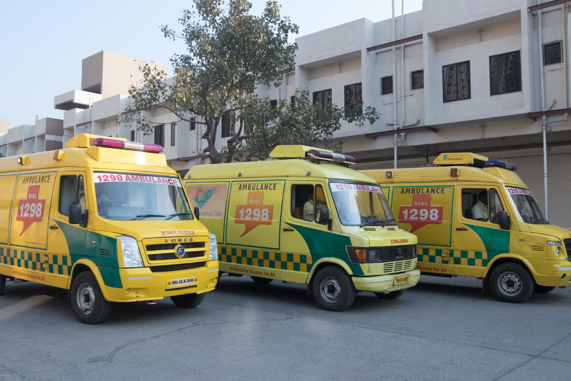 Ambulances of Ziquitza parked near a hospital